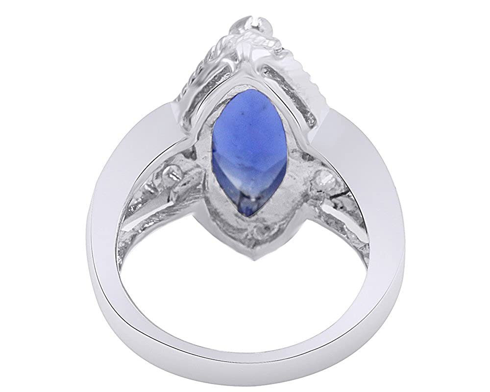 Wishrocks Marquise Cut Simulated Blue Sapphire Engagement Ring in Sterling Silver