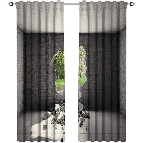 Grey, Curtains Insulated Thermal, Concrete Room with a Hole in The Wall and Exit to Freedom Escape Destruction Theme, Curtains for Sliding Glass Door, W84 x L96 Inch, Grey Green