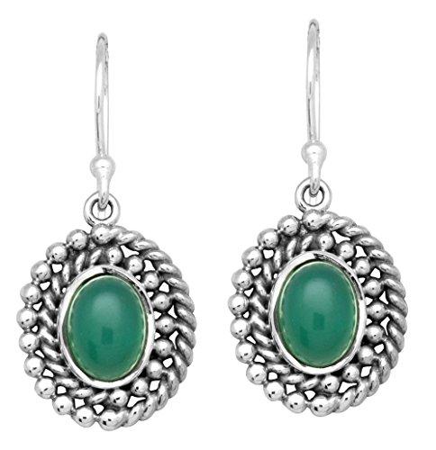 Green Earrings Onyx (Green Onyx Dangle 925 Solid Sterling Silver Earrings Silver Jewelry)
