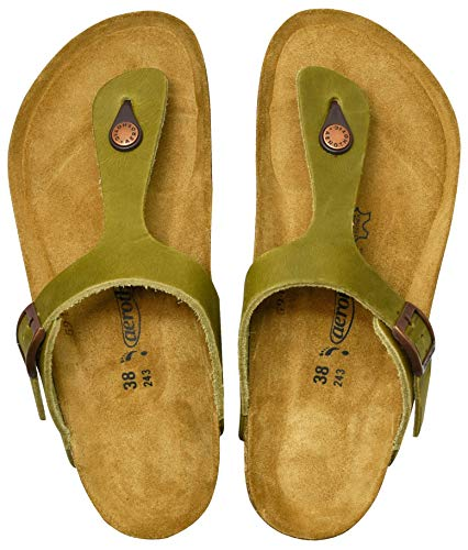 (AEROTHOTIC - Genuine Suede Leather and Cork Footbed Sandals for Women (US-Women-6, Eos Green))