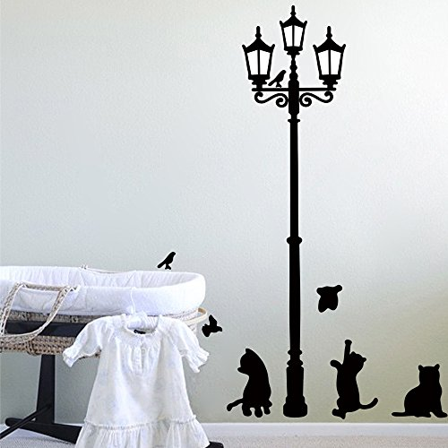 Lamp Cat Bird Removable Wall Sticker Decal Kids Boys Girls Room Home Decor