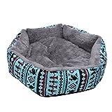 Tangc Warm Pet Dog Cat Bed Puppy Nest Animal House Cave Rabbit Kennel Sleeping Basket (L, Blue)