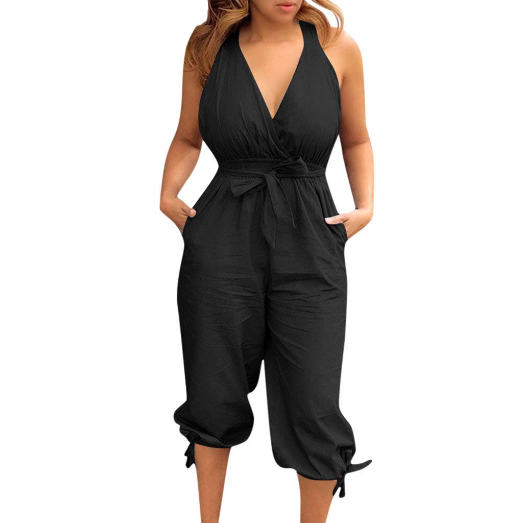 Womens Jumpsuits Summer Off Shoulder Loose Playsuit Romper Long Jumpsuits Slim Wide Leg Pants by Gyouanime