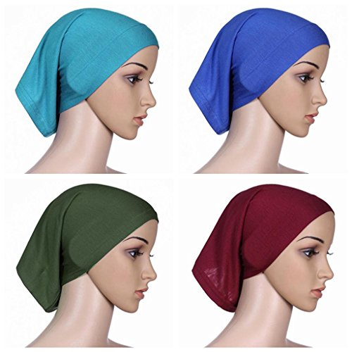 Ksweet 4pcs Lightweight Hijab Cap Under Scarf Women Tube Bonnet Cap Elastic Underscarves Inner Hijab Caps (Blue+Wine red-Green-Light blue)