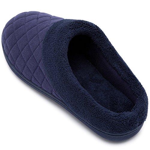 Hometop Femme Confort Matelassé Mousse Mémoire Doublure Polaire Doublure Maison Pantoufles Slip On Sabot Chaussures Maison Nouveau Style - Bleu Nuit