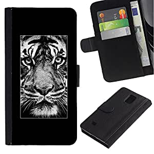 KingStore / Leather Etui en cuir / Samsung Galaxy Note 4 IV / Affiche Afrique Majestic animaux