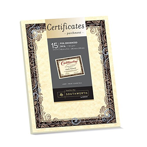 "Southworth Foil Enhanced Parchment Certificate, 8.5"" x 11"", 24 lb., Ivory, Silver/Brown Swirls, 15 Sheets (98866) Southworth Certificate Parchment Paper"
