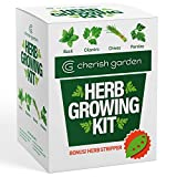 Cherish Garden DIY Herb Growing Kit | Plant Starter Set | 4 x Seed Packets | Basil, Cilantro, Parsley & Chives | With Complete Guide & BONUS Herb Stripper | Herb Garden Kit