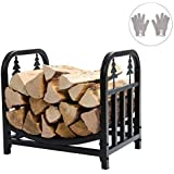 DOEWORKS 18 Inches Decorative Indoor/Outdoor Firewood Racks Fireside Log Rack, Black