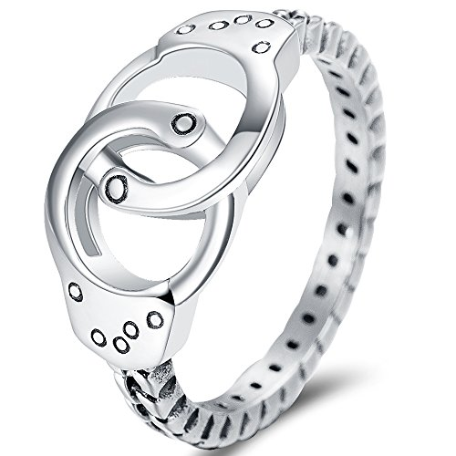 Cuff Silver Ring - Jude Jewelers Stainless Steel Handcuff Infinity Promise Ring Wedding Engagement Statement Propose (Retro Silver, 6)