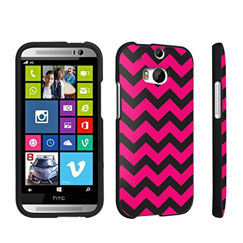 DuroCase Hard Case Black for HTC One M8 - (Black Pink Chevron)
