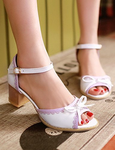 ShangYi Womens Shoes Heel Heels / Peep Toe Sandals / Heels Outdoor / Dress / Casual Yellow / Pink / White/8866 Pink