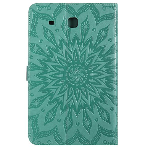 Tab Flip Cover Case Cover Pattern Painting Book Stand Cat Leather Tab T550 9 Style Case Relief Case PU Galaxy A 7 SM Wallet green MiusiCase Sunflower amp;Tree SM 7 SM Protective and Samsung Samsung T550 9 for Galaxy A 58xwTqB