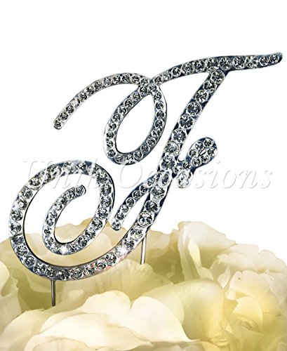 """Victorian Collection Monogram Rhinestone Cake Topper - Large - Silver (4.75"""" Tall) (Letter F)"""