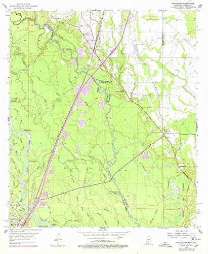 YellowMaps Nicholson MS topo map, 1:24000 Scale, 7.5 X 7.5 Minute, Historical, 1955, Updated 1978, 26.8 x 22 in - Tyvek ()