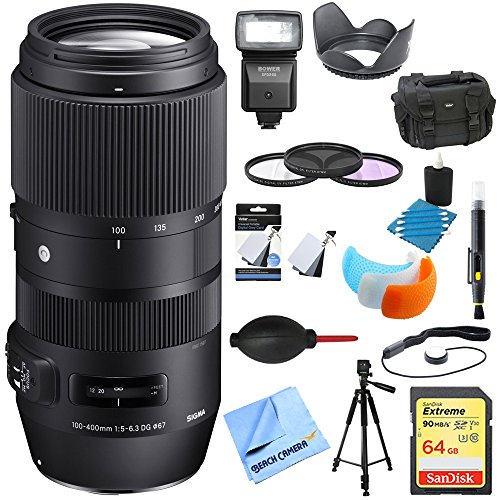 Sigma 100-400mm F5-6.3 Telephoto Lens Canon (729-954) Ultimate Accessory Bundle includes Lens, 64GB Memory Card, Flash, Flash Cover, Tripod, 67mm Filter Kit, Lens Hood, Bag, Cleaning Kit and More by Beach Camera