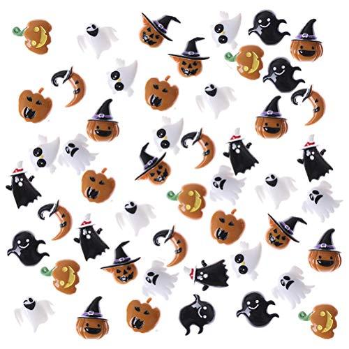 OBANGONG 50 Pcs Resin Flatback Halloween Craft Embellishment Pumpkin Lantern Ghost Skull