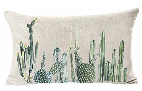 Hand Painted Green Cactus Plants In The Desert Inspiration Cotton Linen Cushion Cover Case For Sofa Living Room Family Office Decorative Throw Lumbar Pillow Case Cushion Cover Rectangle 12 X 20 inches -