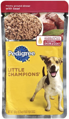 Pedigree Meaty Ground Dinner with Beef Food for Adult Dogs, 5.3-Ounce Pouches (Pack of 24), My Pet Supplies
