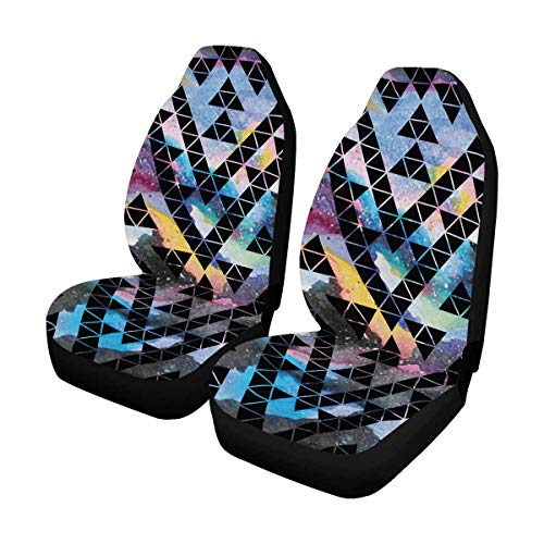 INTERESTPRINT Custom Tribal Galaxy Geometric Car Seat Covers for Front of 2,Vehicle Seat Protector Fit Most Car,Truck,SUV,Van