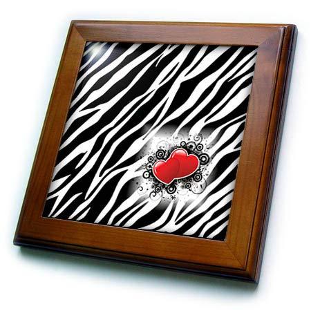 (3dRose Lens Art by Florene - Black and White - Image of Popular Zebra Print with Red Hearts - 8x8 Framed Tile (ft_317090_1))