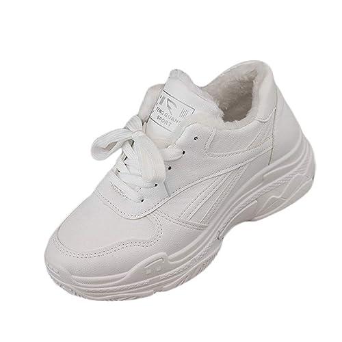 Zapatillas De Deporte De Plataforma CáLida para Mujer Zapatillas De Tela De AlgodóN Piel Casual con Cordones Zapatillas De Deporte Blancas Chaussure Planos: ...