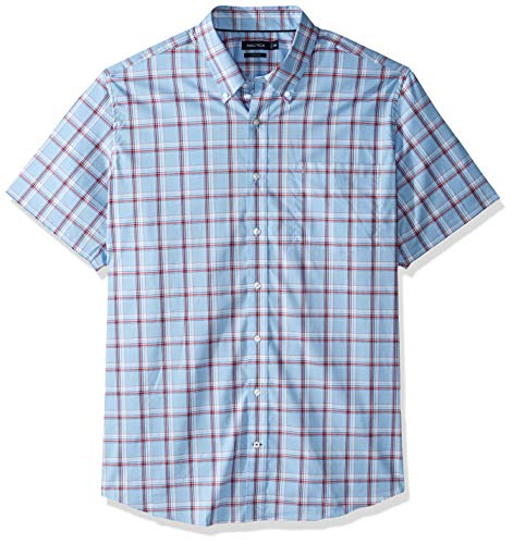Nautica Men's Big and Tall Short Sleeve Wrinkle Resistant Lux Plaid Button Down Shirt, Light Haze, 3XLT