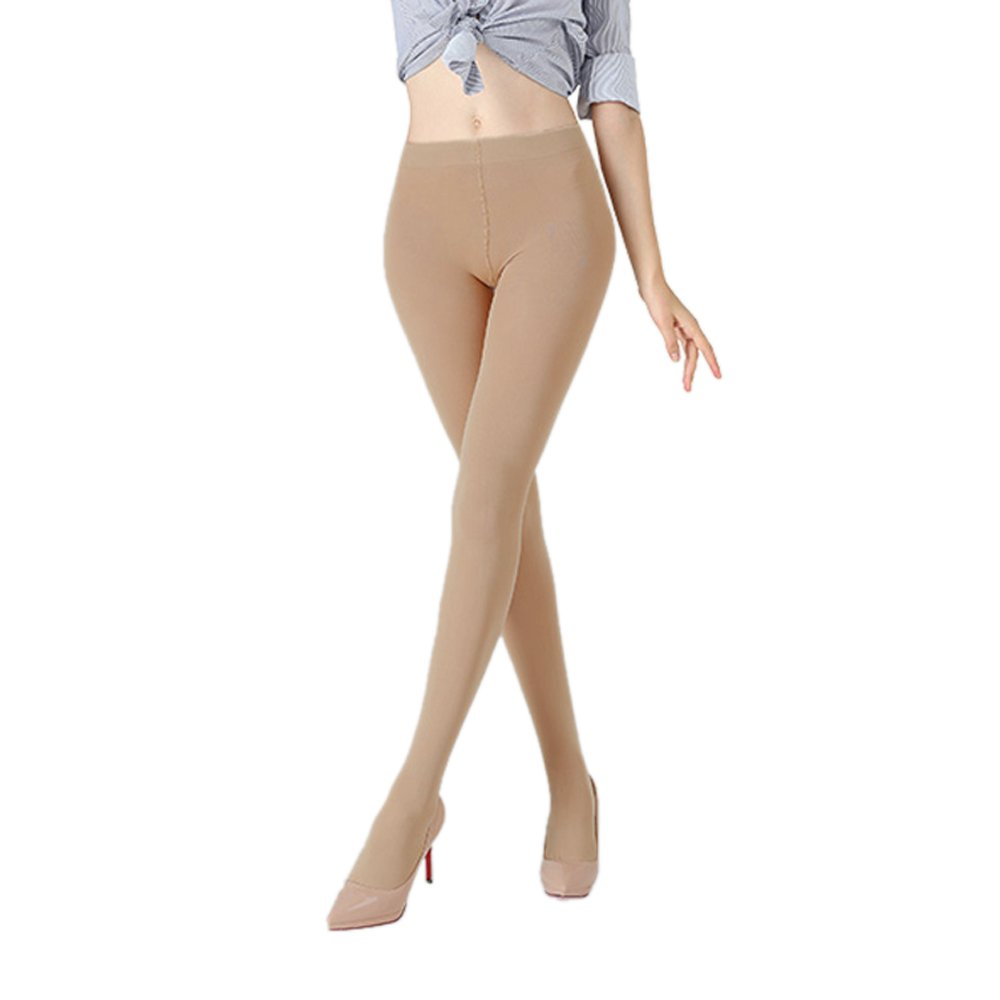 K.T. Fancy 2 Packs Women's 100 Denier Leggswear Solid Color Soft Opaque Footed Silky Tights, Nude, Free Size