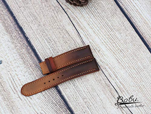 Ombre Brown Vegetable Tanned Leather Watch Strap 24mm 22mm 20mm 18mm 16mm Hand Crafted. VegTan Natural Calf Skin. Leather Padded Watch Band. Hand Stitch