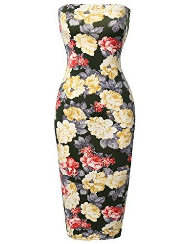Midi Women's Fewdrv0004 Olive Made Dress Tube Yellow in Sexy Emma Body Top by Con q1wgF18