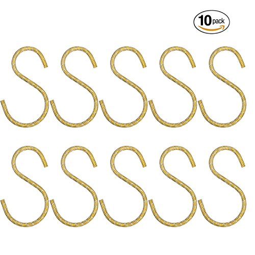 YINUOWEI 10pcs Stainless Steel S Shape Hanger Hook for Hanging Bird Feeders, Planters. Lanterns, Perfect for Bathroom, Bedroom, Office and Kitchen - Gold S Hooks