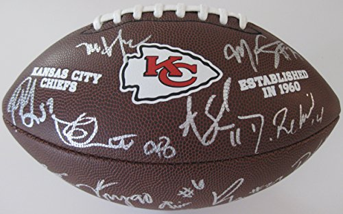 2017 Kansas City Chiefs, Team, Signed, Autographed, NFL Logo Football, a COA with the Proof Photos of the Chiefs Players Signing the Football Will Be Included