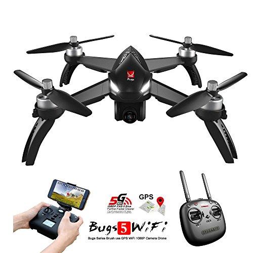 MJX B5W Bugs 5W RC Racing FPV Drone - Amazingbuy 2.4GHz 6-Axis Gyro 1080P HD 5G Wifi Camera - Long Range Drone With GPS, Altitude Hold, Headless mode,One Key Return,Follow Me,Bugs GO (Black)
