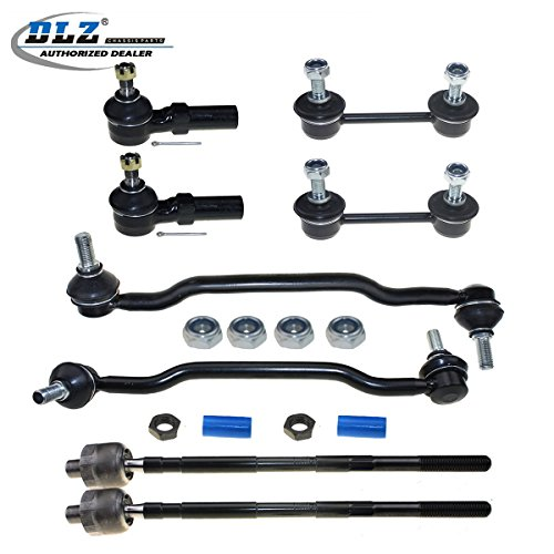 DLZ 8 Pcs Suspension Kit-2 Inner 2 Outer Front Tie Rod End 2 Front 2 Rear Sway Bar Compatible with 2002 2003 2004 Altima 2004 2005 2006 2007 2008 Maxima ()