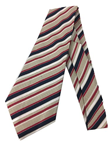 Crepe Tie Neck (Purple Striped Vintage Tie - Jacquard Weave Wide Kipper Necktie Gold Crepe)