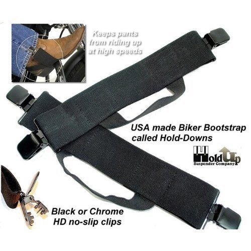 Hold-Ups Biker Stirrups or Boot Straps w/ Patented No-slip Jumbo Black Metal Clips by Hold-Up Suspender Co. (Image #3)
