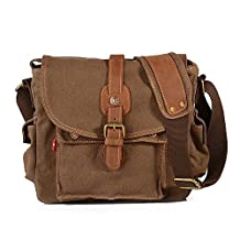 AOKE Canvas Messenger Bag, Unisex Small Vintage Military Canvas Casual Shoulder Bag with Crazy Horse Leather Brown