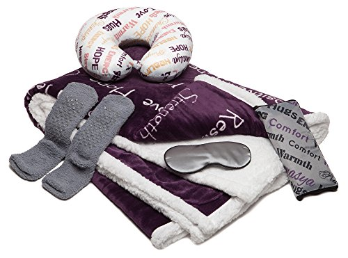 Chanasya 5-Piece Get Well Healing Thoughts Caring Comfort Gift Pack - Super Soft Ultra Plush 50X65 Inches Aubergine Dark Purple Microfiber Throw Blanket, Neck Pillow, Eye Mask, Tote Bag, Cozy Socks