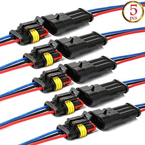YETOR Way Car Waterproof Electrical Connector,2 pin Plug Auto Electrical Wire Connectors with Wire 16 AWG Marine for Car, Truck, Boat, and Other Wire Connections.(5 Pack) (3pin) ()