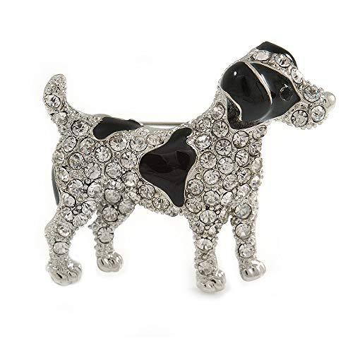- Avalaya Clear Crystal with Black Enamel Spots Jack Russell Terrier Dog Brooch in Silver Tone Metal - 40mm Across