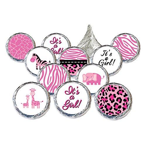 Pink Jungle Safari Girl Baby Shower Favor Stickers (Set of (Pink Safari Baby Shower Invitations)
