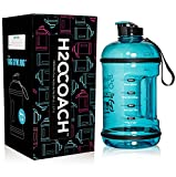 H2OCOACH Half Gallon Sports Water Bottle with Time Marker | Motivational 2.5 Liter, Reusable BPA Free Jug (84 oz)