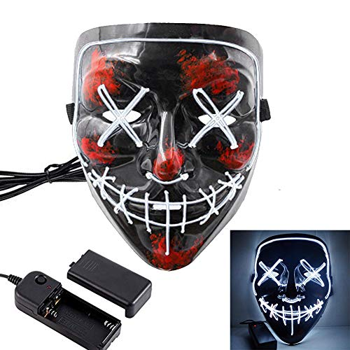 HOLIKE Halloween Purge Mask LED Light up Scary Glowing Mask for Festival Cosplay Halloween -