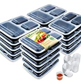 Enther Meal Prep Containers 36oz Lids, Food Storage Bento Box BPA Free/Reusable/Stackable Lunch Planning, Microwave/Freezer/Dishwasher Safe, Control, 36 oz, 20 Pack 3 Compartments with Portion Cups