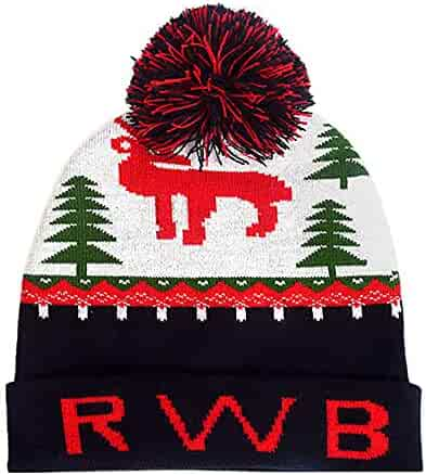 6a83d574641 Pervobs Christmas Knitted Caps Winter Hairball Hat Xmas Deer Elk Snowflake  Print Hats