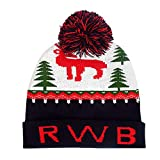 WUAI Christmas Hats for Adults,Winter Knit Hats Warm-up Ugly Sweater Beanie Snow Knit Skull Cap Xmas Hats