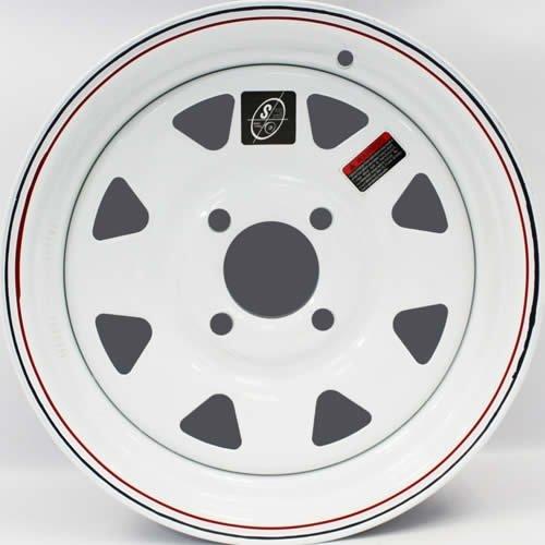13'' x 4.5'' White Spoke Trailer Wheel with Red & Blue Pin Stripe (4-4'' bolt Pattern)