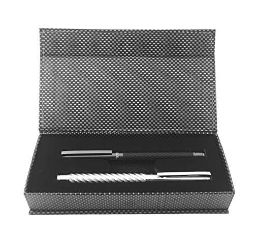 Shoptotum Yin Yang Edition, Carbon Fiber Roller Pen Gel Ink, Elegant Design, Black and Chrome, Perfect for Men or Women in School, Office, Business. Gift box included.