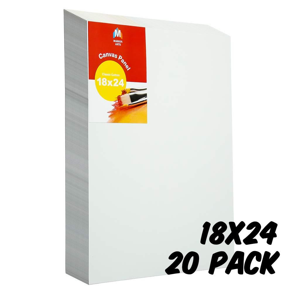 Markin Arts Classic Series Heat Pressed Hi-Density Acid/Discoloration Free 100% Cotton Medium Weight 10oz Triple Titanium Acrylic Gesso Primed Canvas Panel Board Oil Paint 18x24'' 20-Pack