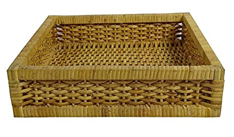 Hand Woven Decorative Square Basket Multipurpose Wooden Wicker Cane Baskets - Hand Woven Oval Basket